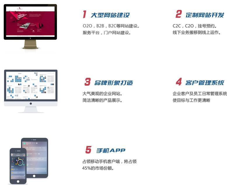 O2O,B2B,B2C等网站建设。服务平台,门户网站建设,C2C,C2O,挂号预约。线下业务搬移到线上运作。大气美观的企业网站。简洁清晰的产品展示。企业客户及员工日常管理系统 使目标与工作更清晰.占领移动手机客户端,将占领45%的市场份额。