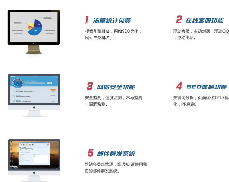 搜索引擎排名,网站SEO优化,网站自然排名。浮动客服,主动对话;浮动QQ,浮动电话。安全监测;速度监测;木马监测;漏洞监测。关键词分析,页面优化TITLE优化,PR查询。网站会员难管理,难通知,请使用我们的邮件群发系统。