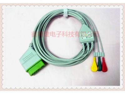 光电14针一体三导心电导联线