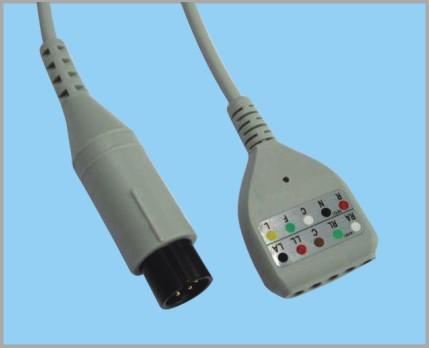 DIN TYPE分体式监护心电5导缆线