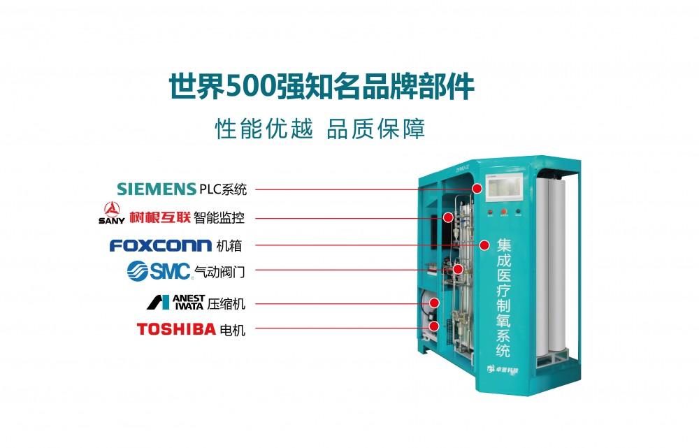 卓誉制氧机选用全球知名部件