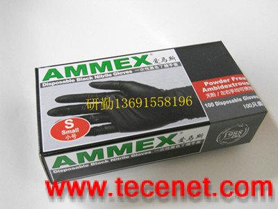 AMMEX爱马斯一次性黑色丁腈手套(无粉)