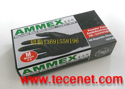 AMMEX爱马斯 一次性黑色丁腈手套(无粉)