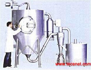 小型喷雾干燥设备型 号: Production Minor技术参数:1、 最大蒸发水量:30kg/h;水;2、 进风温度:最高300℃ ;3、 出风温度:最高120℃;4、 表面处理(标准): 干燥塔