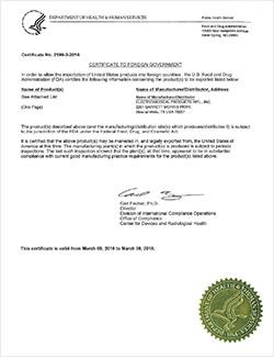 美国FDA出具的医疗器械出口许可证